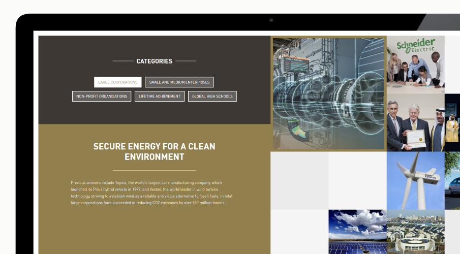 zayed future energy prize presentation site phoenix design aid